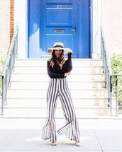 pants,hat,tumblr,wide-leg pants,stripes,striped pants,top,black top,off the shoulder,off the shoulder top,sun hat,sandals,sandal heels,high heel sandals