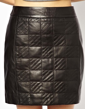 Urbancode | Urbancode Leather Mini Skirt With Quilted Panel at ASOS