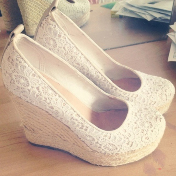 shoes, wedges, heels, white lace shoes