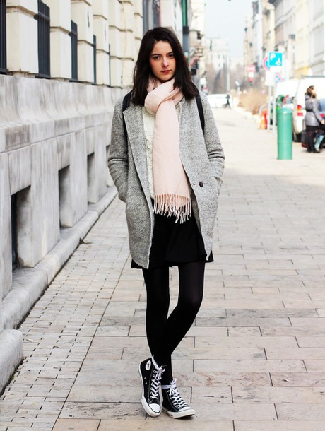 mes memos blogger grey coat high top sneakers