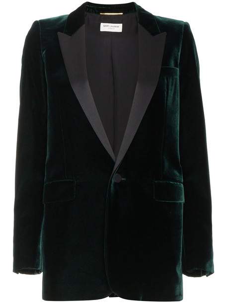 Saint Laurent blazer women cotton silk velvet green satin jacket