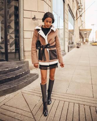 jacket tumblr shearling jacket shearling brown shearling jacket skirt mini skirt boots black boots knee high boots