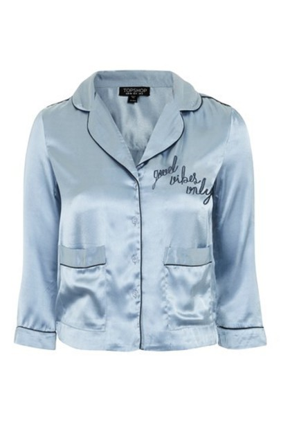 Topshop top light blue satin light blue
