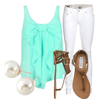shirt cute bow blue jeans white shoes sandals pearl jewels