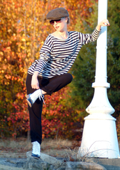 shoes,stripes,boots,striped top,cap,newsboy hat,wing tips,black,white,pants