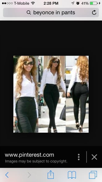 blouse white white blouse beyonce pants leggings jeggings shirt glasses red lime sunday