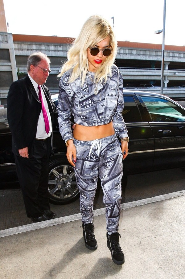 shirt rita ora crop tops pants sweatpants
