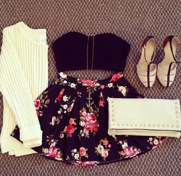 bustier floral skater skirt roses pouch knitted sweater cream skater skirt cute cute outfits black bralette t-strap heels skirt