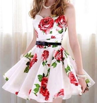 dress white white dress flowers flowers dress skater dress roses floral dress black black belted dress