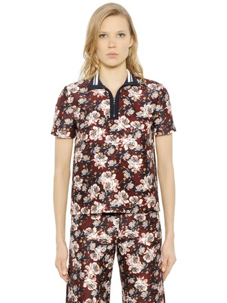 shirt polo shirt floral cotton silk top