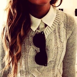 sunglasses jumper smart casual long hair sweater gray cute gorgeous fashion blouse pretty