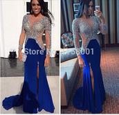 dress,long dress,long sleeve dress,royal blue dress,long prom dress,long mermaid dress,mermaid prom dress,side slit maxi dress,side slit dresses,beaded dress