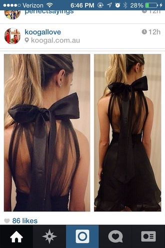 black dress little black dress bow back dress chiffon dress