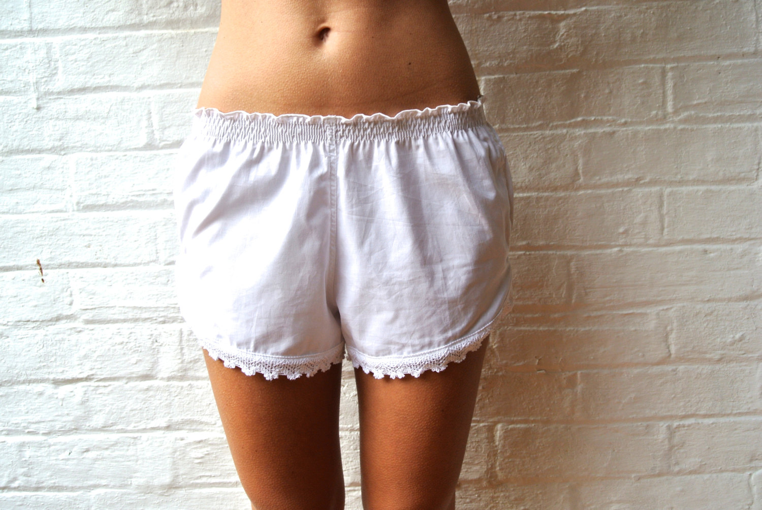 Floater Pajama Shorts - White Cotton Lace