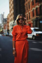 orange,blouse,blogger,outfit idea,office outfits,fine knit jumper,asymmetrical skirt,stacked jewelry,stacked bracelets,oversized sunglasses,fall colors,theclosetheroes,sunglasses