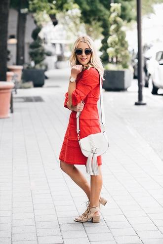 gbo fashion blogger dress shoes bag red dress shoulder bag white bag sandals spring outfits