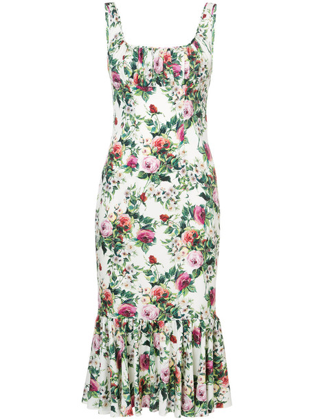 Dolce & Gabbana dress print dress rose women spandex white print silk