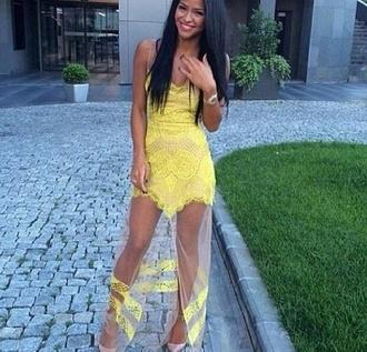 yellow sheer dress ball lemon mesh lines boobtube cocktail