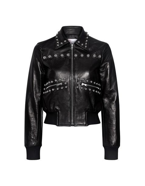 RED VALENTINO jacket bomber jacket studded cropped leather black