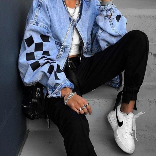 shoes nikes black and white jacket denim jacket denim jacket checkered