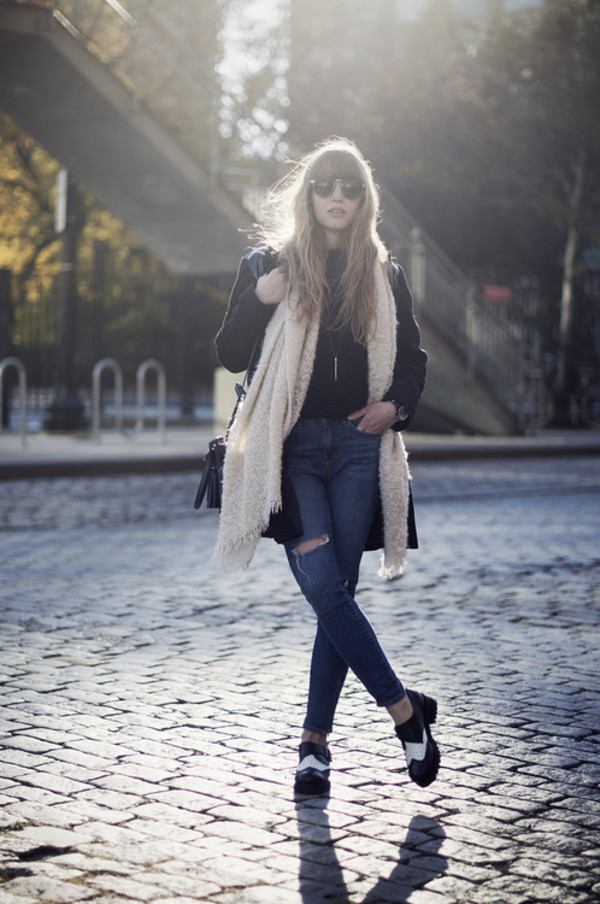 just another me bag coat jeans shoes scarf sweater jewels sunglasses