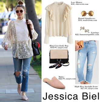 thebudgetbabe blogger blouse jeans ruffled top loafers ripped jeans mules