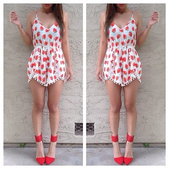dress strawberry romper summer casual shoes