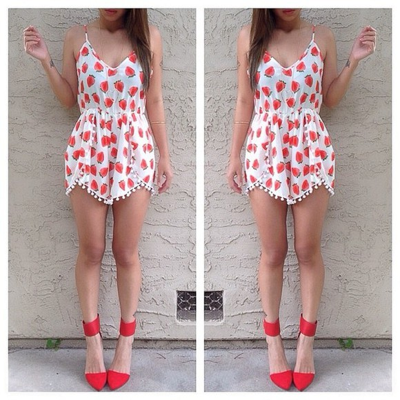 dress romper shoes summer strawberry casual