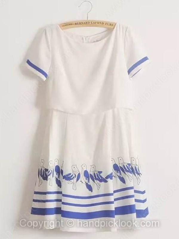 chiffon dress short dress clothes print dress birds dress
