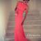 Elegant coral square neckline sweep train prom dresses, evening dresses - 24prom