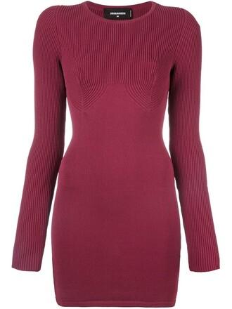 dress bodycon bodycon dress knit purple pink