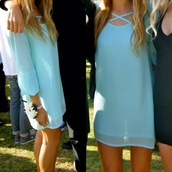 dress,blue,cross front,criss cross,x front,crossed,long sleeves,formal,fancy,turquoise,blouse,shirt,skirt