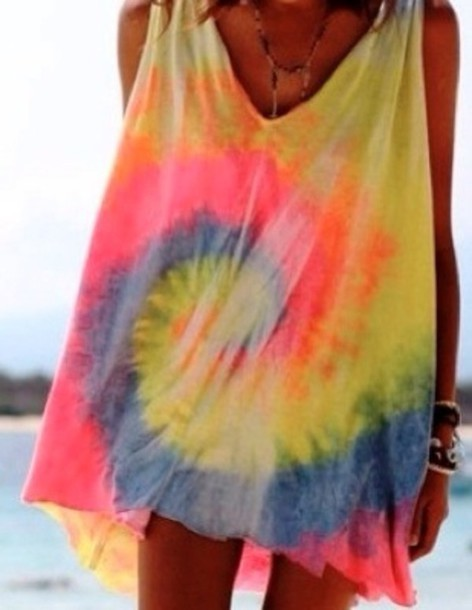 Tank top tie dye cover up blouse dress long shirt for Beach shirt cover up