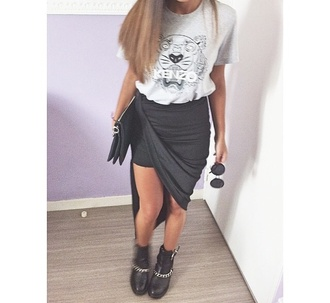skirt black american apparel sandro zara kenzo t-shirt