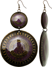 jewels,metal earrings,dome earrings,link earrings,purple earrings,candyluxx