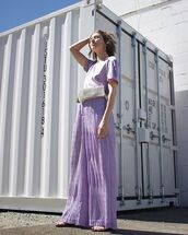 pants,purple pants,wide-leg pants,top,sunglasses,bag,shoes