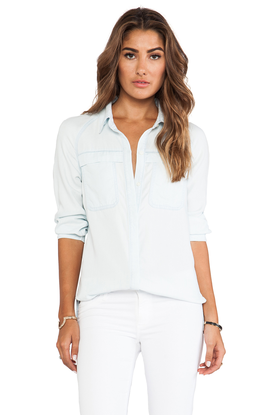 7 For All Mankind Raglan Patch Pocket Shirt in Clear Aquamarine | REVOLVE