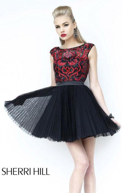 Sleeves A line Black Pleated Dress Sherri Hill 21167 [Sherri Hill ...