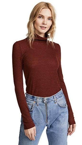 Madewell turtleneck metallic rust sweater