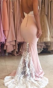 dress,mermaid wedding dress,mermaid,pink dress,pink,lightpink,light pink dress,light pink,lace