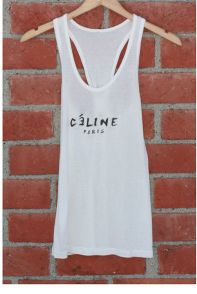 top knot celine tank top summer tank paris hipster rad tank racerback print top graphic top graphic tee graphic tees print tees