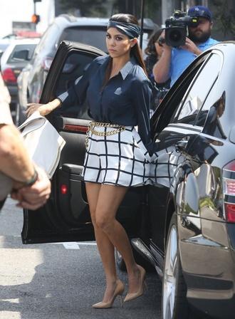 blouse kourtney kardashian checkered chain turban