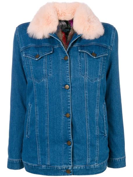 Mr & Mrs Italy jacket denim jacket denim fur fox women spandex cotton blue