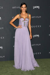 dress,lilac,gown,prom dress,long dress,long prom dress,alessandra ambrosio,bustier dress,sexy prom dress,purple dress,purple prom dresses,evening dress,long evening dress,evening outfits,formal dress,formal event outfit