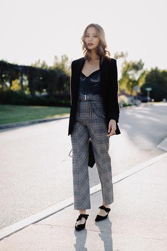 pants tumblr jamie chung blazer black blazer top blue top velvet top velvet plaid plaid pants grey pants shoes black shoes black flats flats