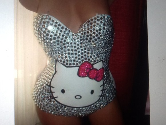 corset black romper hello kitty rinestones Rinestone sivler bling-bling kittygang pink White Jewerly