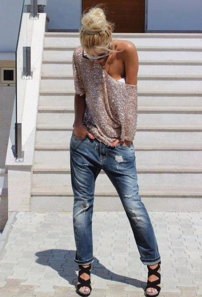 sweater off the shoulder sweater sequins knitted sweater jeans shirt t-shirt