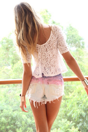 blouse,lace,blonde hair,white,shorts,shirt,cut off shorts,ombre bleach dye,summer,cute,mid length sleeves,weheartit,dip dyed,see through,pretty,casual shirt,beautiful,top,peplum,t-shirt,ombre,ripped,denim,bleach,multicolor,fashion,white t-shirt