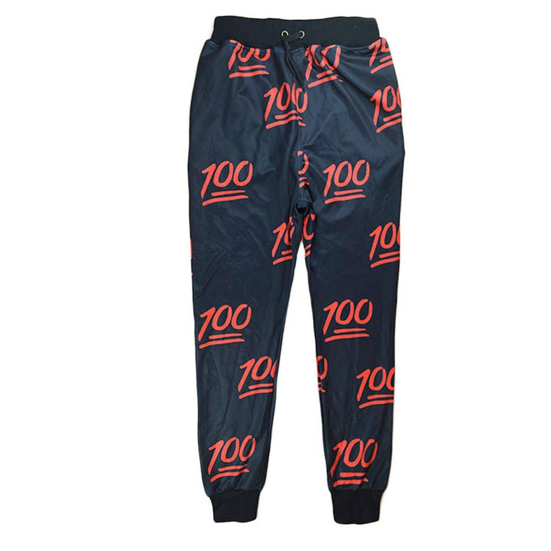 Amazon.com: unisex hipster 100 score emoji 3d sweatpants joggers sportswear pants black (m): clothing