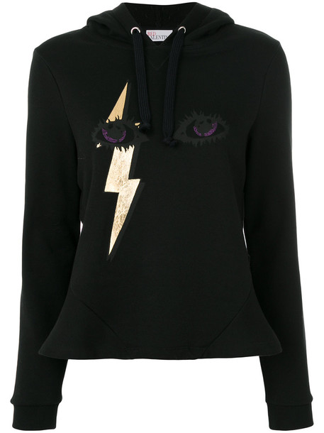 Red Valentino - lightning eye print hoodie - women - Cotton/Polyamide - S, Black, Cotton/Polyamide